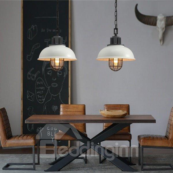 White Iron Framed Semicircle Shape Decorative Pendant Light