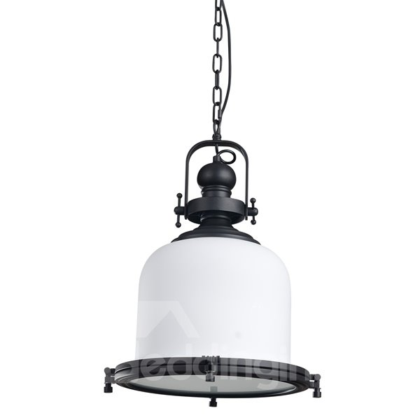 White Iron and Glass Simple Style Chain Pendant Light