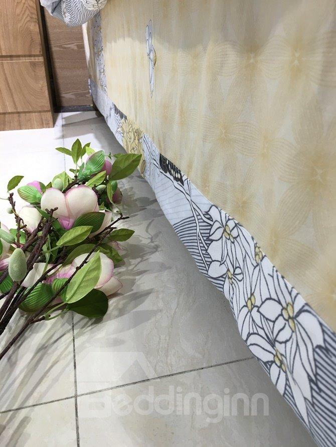 Unique Tree and Butterfly Print 4-Piece Cotton Duvet Cover Sets