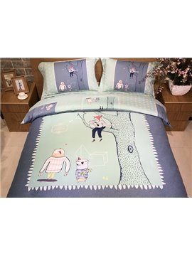 Marvelous Cartoon Fox Print 4-Piece Cotton Duvet Cover Sets