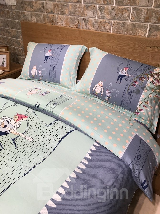Marvelous Cartoon Fox Print 4-Piece Cotton Duvet Cover Sets