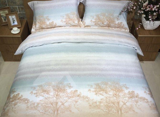 Gradient Stripe and Tree Print 4-Piece Cotton Duvet Cover Sets