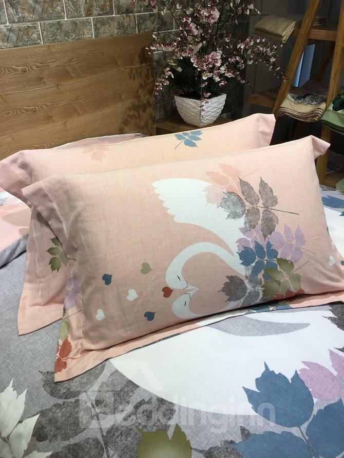 Noble White Swan Couple Print 4-Piece Cotton Duvet Cover Sets