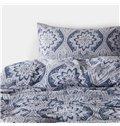 Classic Paisley Pattern Print Blue 4-Piece Cotton Duvet Cover Sets