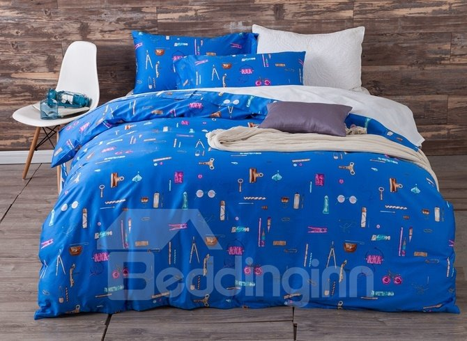 Bright Blue Stationery Print 4-Piece Cotton Duvet Cover Sets 12239159