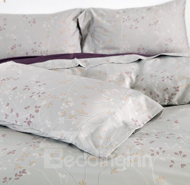 Pastoral Style Cozy Light Gray 4-Piece Duvet Cover Sets