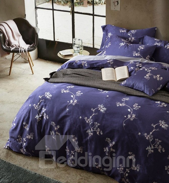 Splendid Noble Flowers Print Purple 4-Piece Duvet Cover Sets