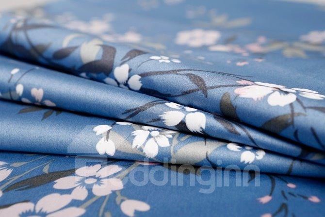 Elegant White Floret Print Blue 4-Piece Cotton Duvet Cover Sets