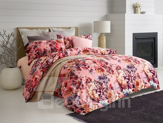 Luxury Pink Peony Print 4-Piece Cotton Duvet Cover Sets