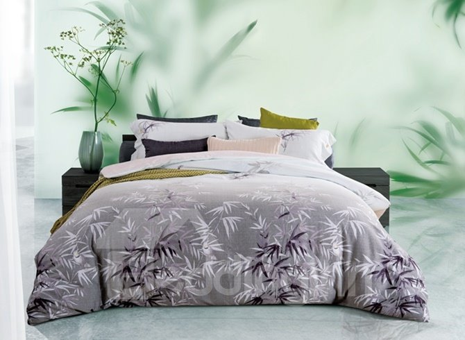 Creative Bamboo Print 4-Piece Cotton Duvet Cover Sets