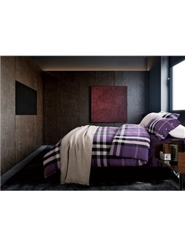 Purple Modern Plaid Print 4-Piece Cotton Duvet Cover Sets