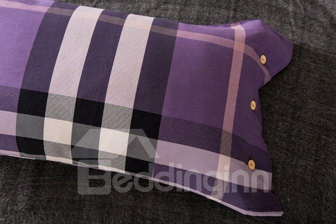 Purple Modern Plaid Print 4-Piece Cotton Duvet Cover Sets