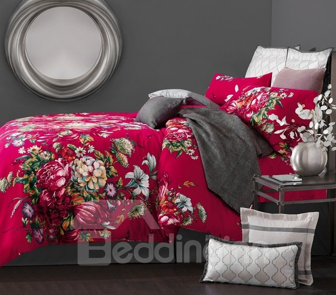 Festive Peony and Morning Glory Print 4-Piece Cotton Duvet Cover Sets