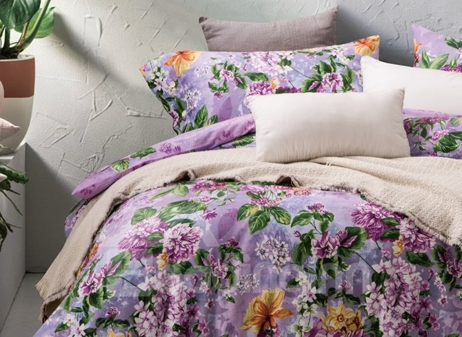 Purple Chrysanthemum and Lilac Print 4-Piece Cotton Duvet Cover Sets