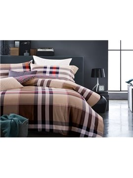 Comfortable Plaid Print 4-Piece Cotton Duvet Cover Sets