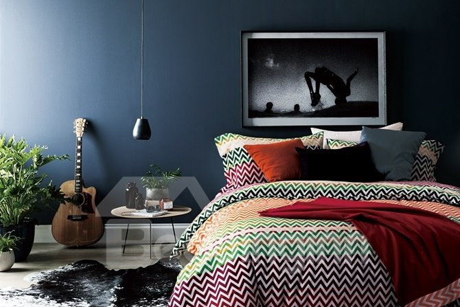 Colorful Water Ripple Print 4-Piece Cotton Duvet Cover Sets