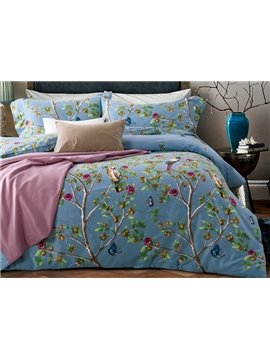 Lush Bird and Tree Print Blue 4-Piece Cotton Duvet Cover Sets