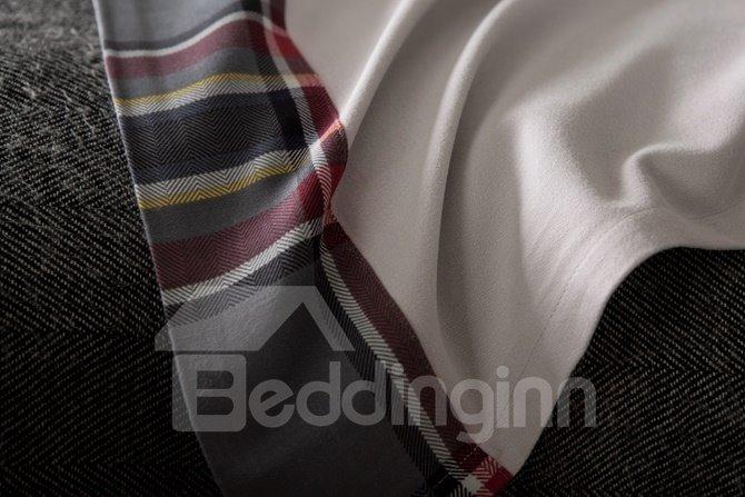 Fabulous Neutral Plaid Print 4-Piece Cotton Duvet Cover Sets
