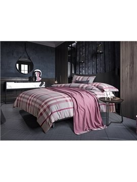 Charming Modern Plaid Print 4-Piece Cotton Duvet Cover Sets