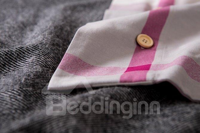Charming Modern Plaid Print 4-Piece Cotton Duvet Cover Sets