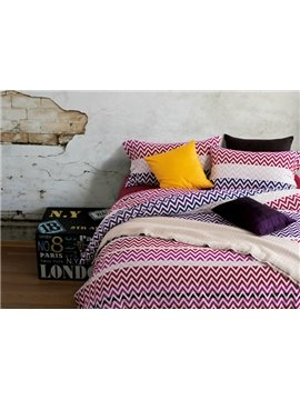 Colorful Chevron Pattern Print 4-Piece Cotton Duvet Cover Sets