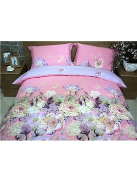 Elegant Lush Peony Print Pink 4-Piece Cotton Duvet Cover Sets