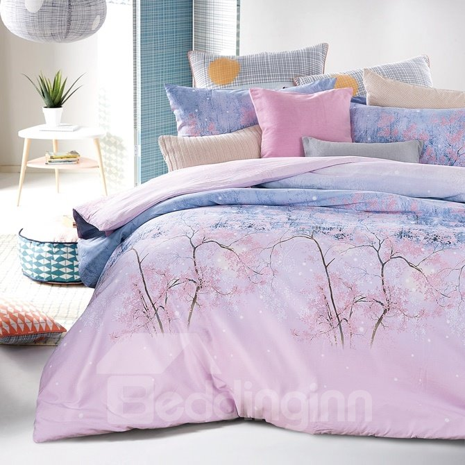 Dreamlike Pink and Purple Forest Print 4-Piece Cotton Duvet Cover Sets