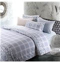 Unique Plaid and Flower Rattan Print 4-Piece Cotton Duvet Cover Sets