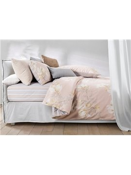 Beautiful Magnolia Print 4-Piece Cotton Duvet Cover Sets