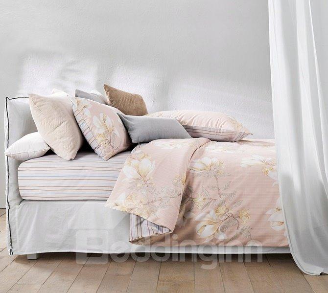 Beautiful Magnolia Print 4-Piece Cotton Duvet Cover Sets