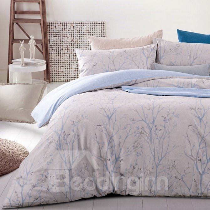 Noble Unique Tree Branch Print 4-Piece Cotton Duvet Cover Sets