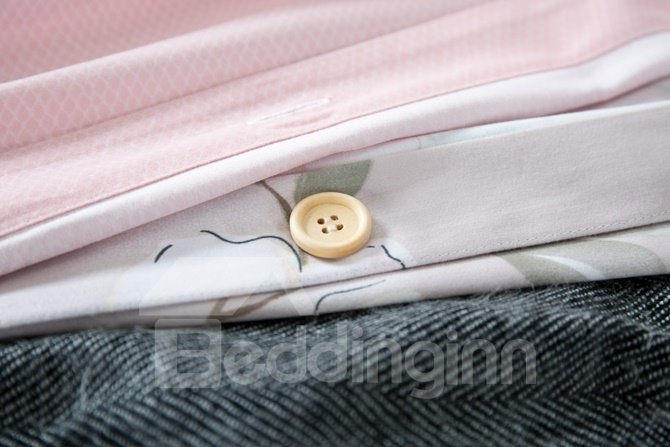Excellent Winter Jasmine Print Pink 4-Piece Cotton Duvet Cover Sets