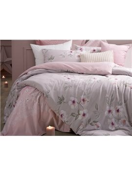 Excellent Winter Jasmine Print Pink 4-Piece Cotton Duvet Cover Sets