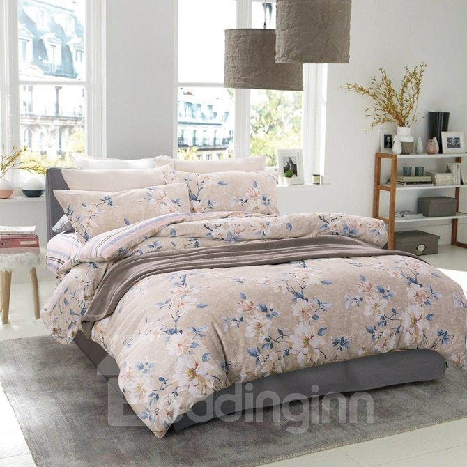 Unique Design Stunning Magnolia Print 4-Piece Cotton Duvet Cover Sets
