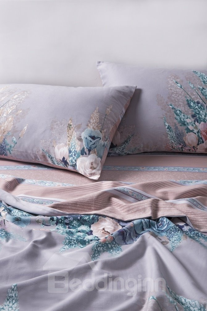 Personality Style Excellent Peony Print 4-Piece Cotton Duvet Cover Sets