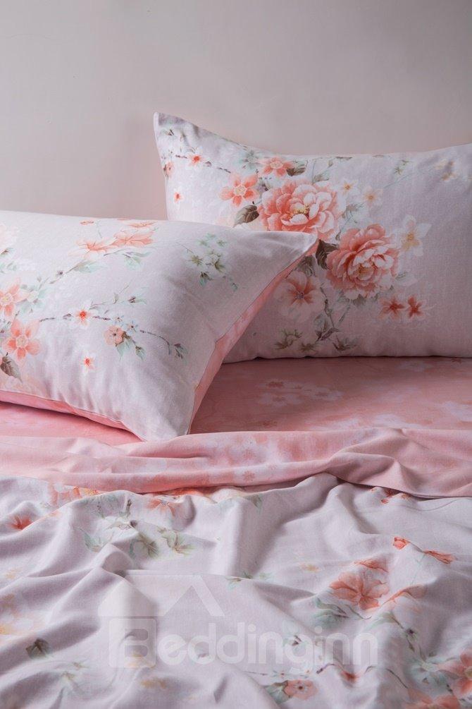 Marvelous Peony Print Pink 4-Piece Cotton Duvet Cover Sets