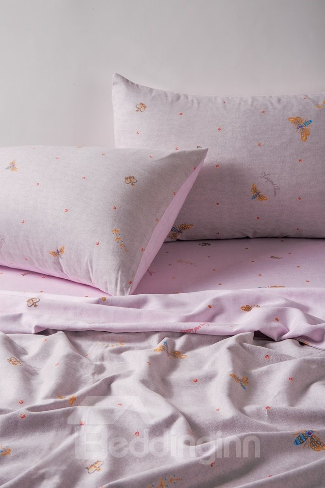 Princess Style Bee Print Pink 4-Piece Cotton Duvet Cover Sets