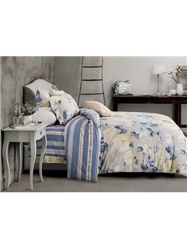 Pastoral Style Beige Peony Print 4-Piece Cotton Duvet Cover Sets