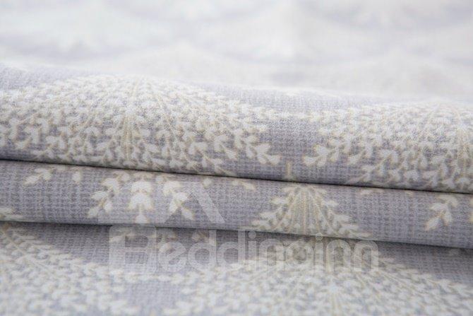 Noble Gray Tree Print 4-Piece Cotton Duvet Cover Sets