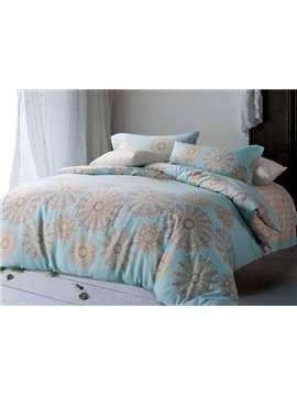 Splendid Medallion Print Sky Blue 4-Piece Cotton Duvet Cover Sets