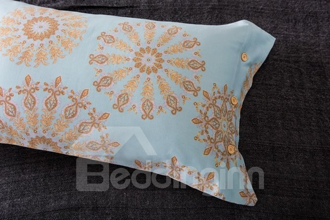 Splendid Medallion Print Sky Blue 4-Piece Cotton Duvet Cover Sets