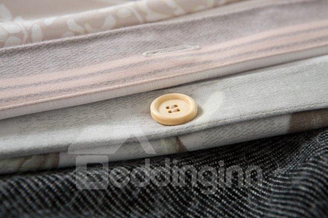 Delicate Magnolia Print 4-Piece Cotton Duvet Cover Sets