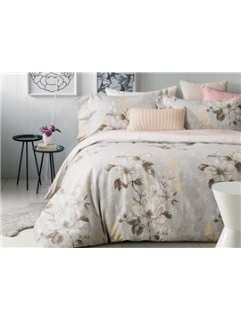Delicate Magnolia Print 4-Piece Cotton Duvet Cover Sets
