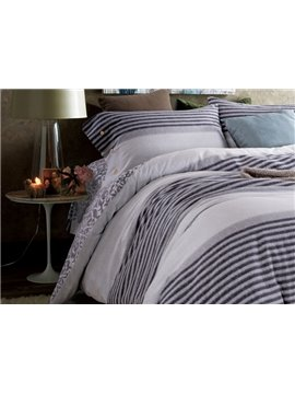 Cozy and Smooth Stripes Print 4-Piece Cotton Duvet Cover Sets