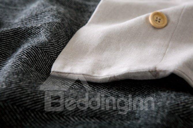 Modern Style Popular Stripes Print 4-Piece Cotton Duvet Cover Sets