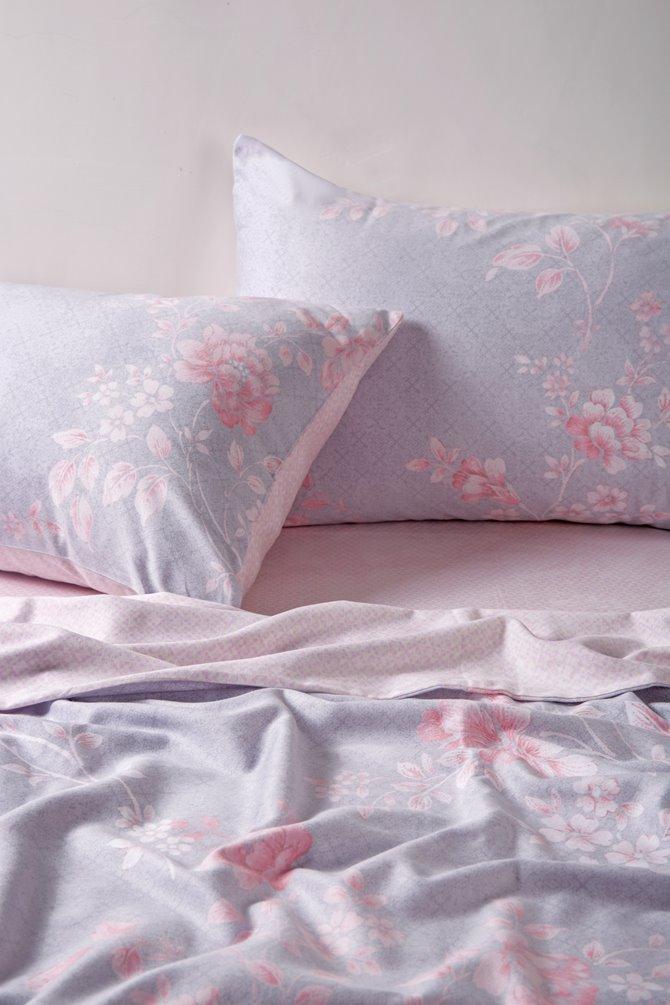 Dreamy Pink Peony Light Purple 4-Piece Cotton Duvet Cover Sets