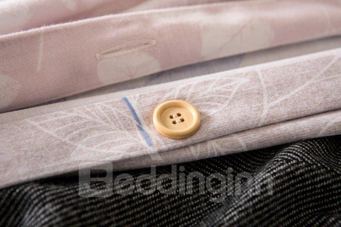 Bright Blue Leaves Print 4-Piece Cotton Duvet Cover Sets