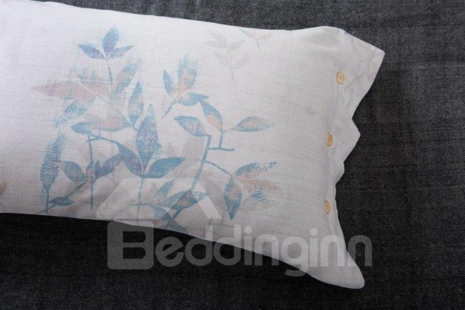 Chic Leaves Reactive Printing 4-Piece Cotton Duvet Cover Sets