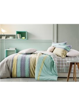 Contemporary Gradient Stripes Print 4-Piece Cotton Duvet Cover Sets