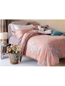 Graceful Magnolia Print Orange 4-Piece Cotton Duvet Cover Sets